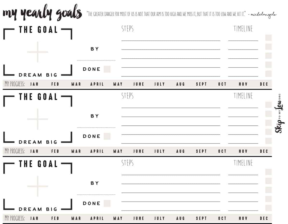 Free Goal Setting Worksheets