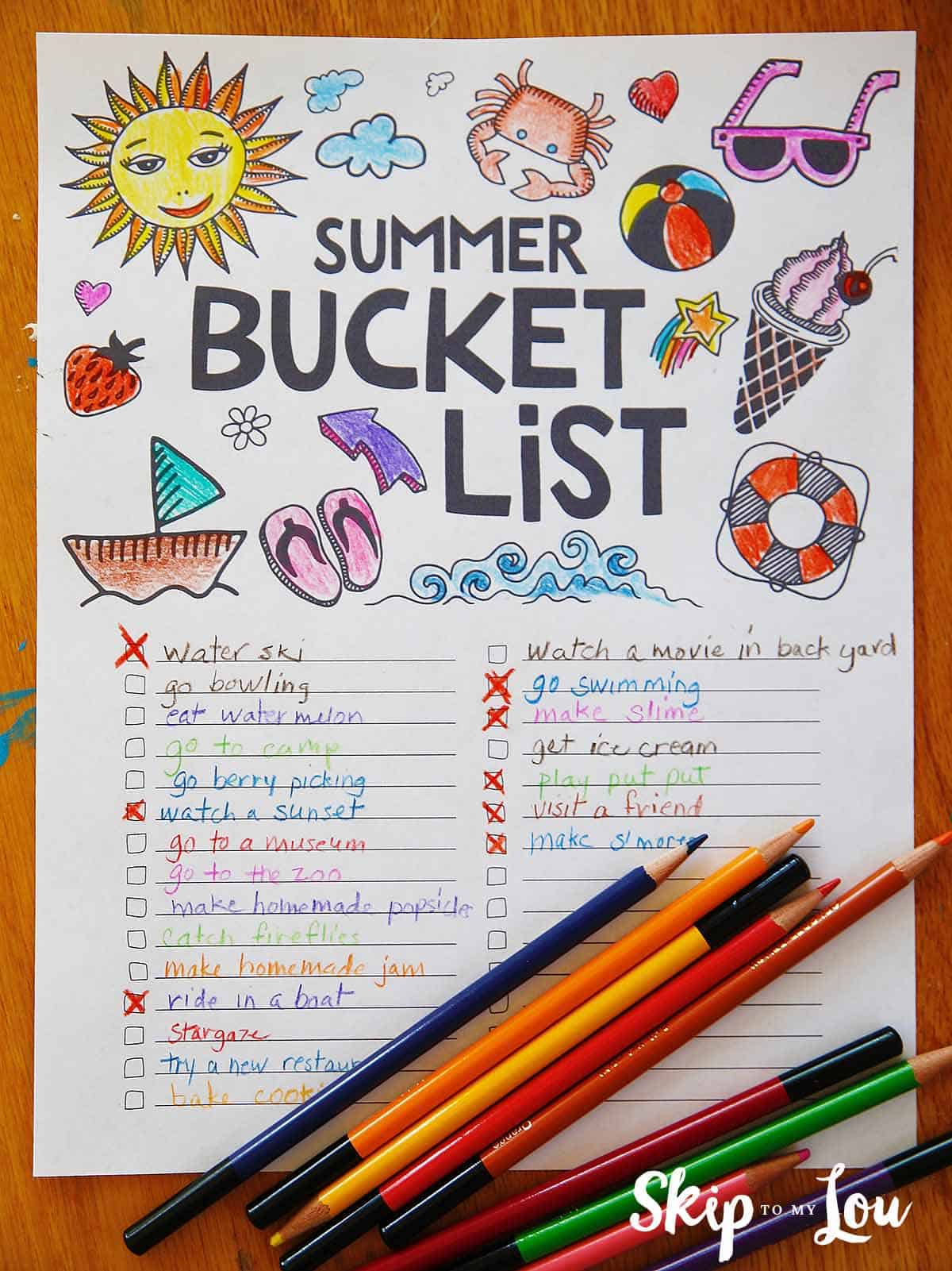 Free Printable Summer Bucket List Coloring Page
