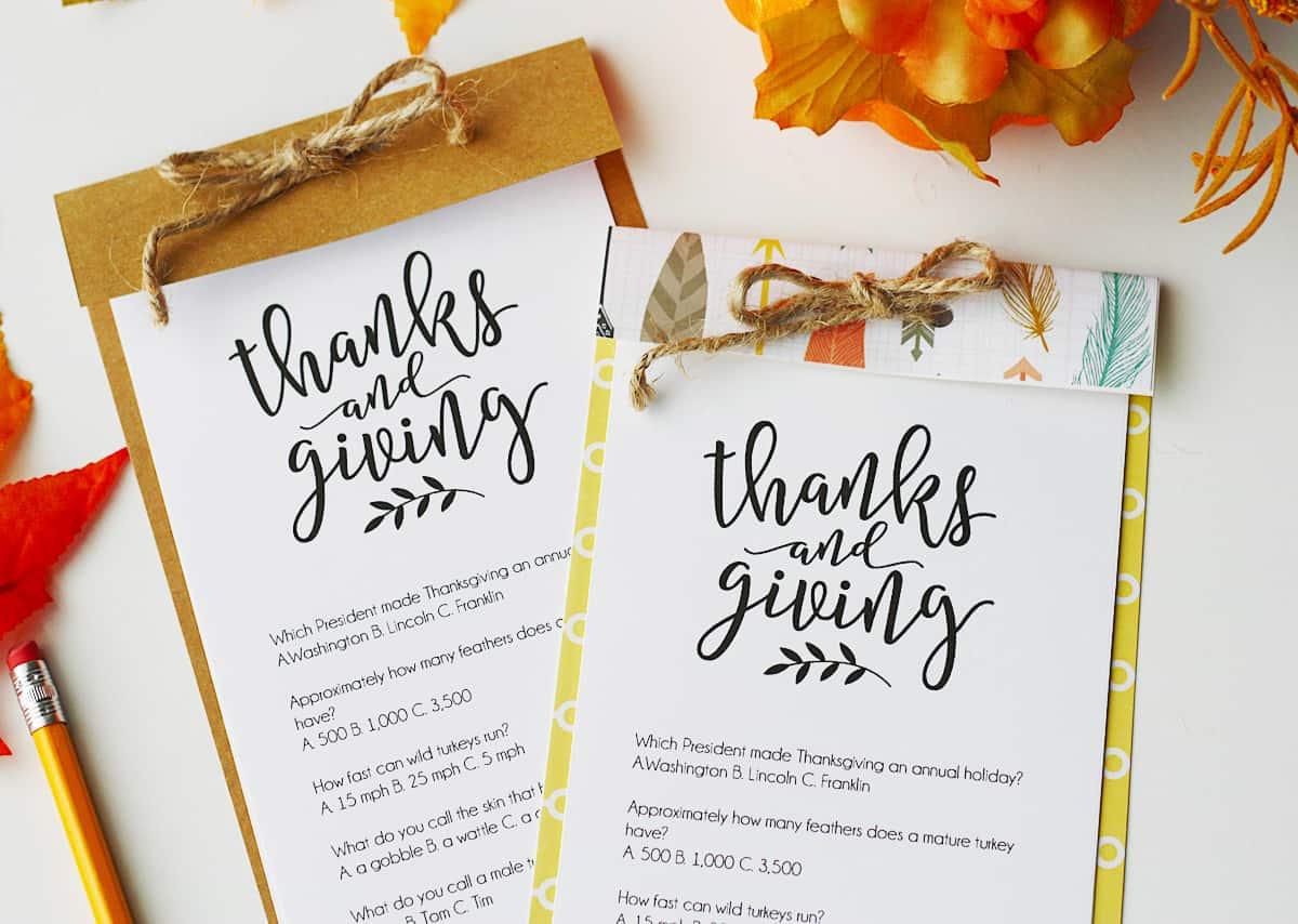 Thanksgiving Trivia Free Printable