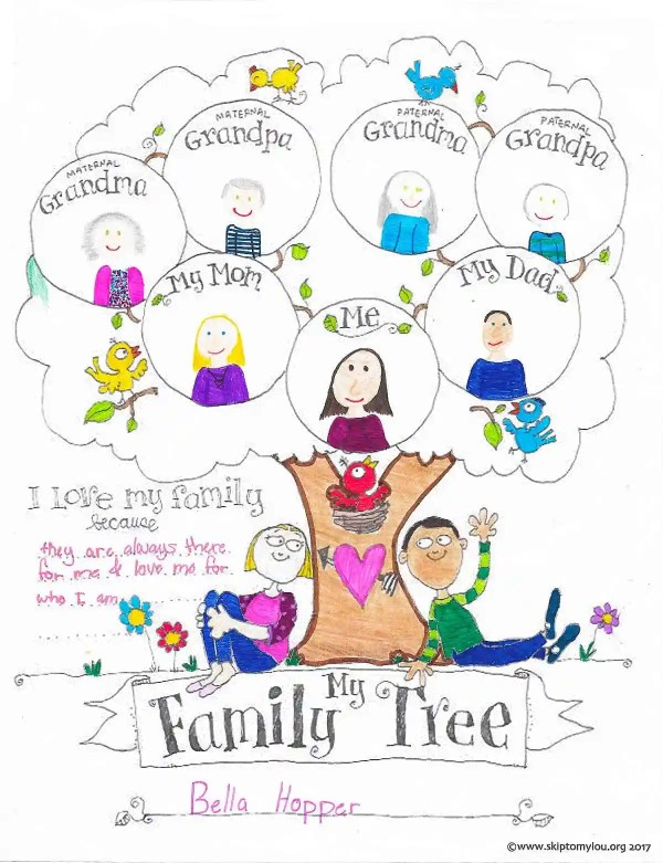 family tree coloring page # 5