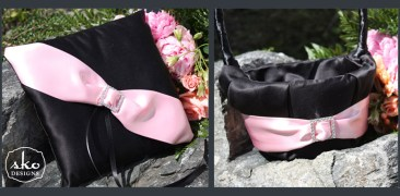 Black Satin Ring PIllow & Flower Girl Basket with Pale Pink Satin Sash & Rhinestone Buckle