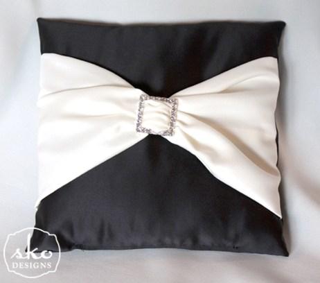 Black Satin Ring Pillow with Ivory Satin Sash