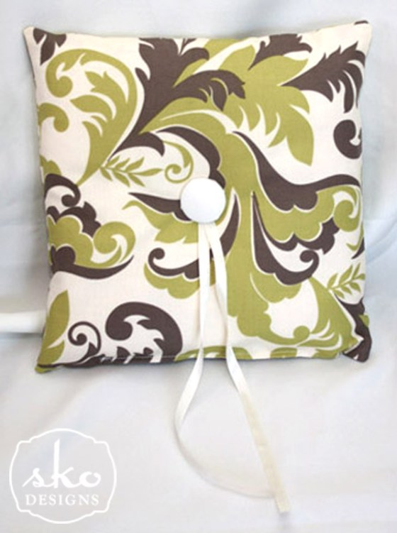 Ivory, Olive, Brown Foliage Print Ring Pillow