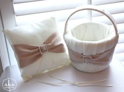 Ivory & Champagne Satin Flower Girl Basket & RIng Pillow