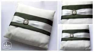 Ivory & Olive Satin Ring Pillow