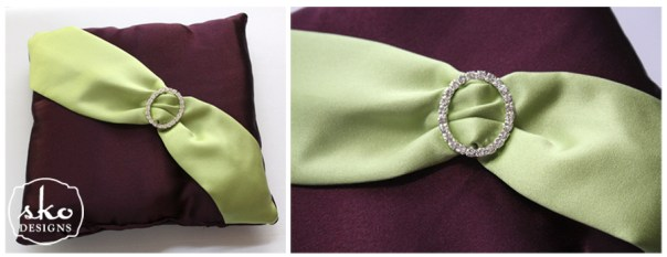 Wine & Lime Satin Ring Pillow