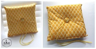 Yellow Polka Dot Ring Pillow