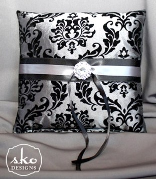 Steel Gray & Black Damask Taffeta Ring PIllow