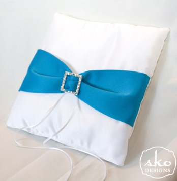 White Satin Ring Pillow with Turquoise Satin Sash & Rhinestone Buckle