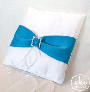 White Satin Ring Pillow with Turquoise Satin Sash & Rhinestone Buckle
