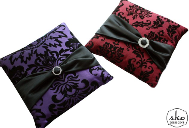 Red & Purple Damask Ring Pillows