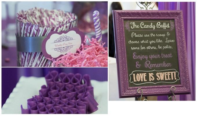 Candy Buffet and Custom Chalkboard by SKO Designs. Photo courtesy of Shoreshotz Weddings.