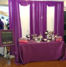 Pantone's Color for Spring 2014 – Radiant Orchid Inspired Candy Buffet and Custom Chalkboard by SKO Designs.