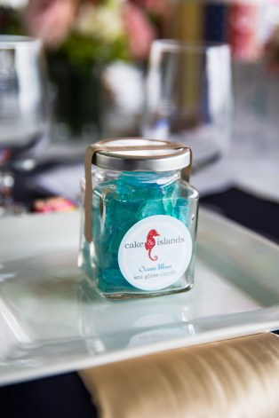 Little jars of Sea Glass Candy by Cake & Islands were adorable favors for the kids. Photography by Organic Photography.