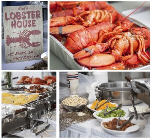 A traditional New England Clambake was served at this Summer backyard tent wedding. Catering by Dinner & Company. Photography by Shoreshotz Photography (shoreshotz1.com)