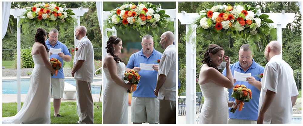 Beautiful White Arbor and flowers were a gorgeous backdrop for the wedding ceremony during this Summer backyard tent wedding. Flowers by Katydid Flowers. Photography by Shoreshotz Photography (shoreshotz1.com)