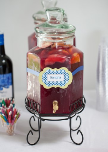 One of the signature cocktails was the bride's favorite Sangria. Beverage Tag by SKO Designs. Photo by Shoreshotz Photography.