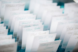 Beach Theme Place Cards at Sea Crest Beach Hotel. Place Cards by SKO Designs. Photo courtesy of Nicole Lopez Photography.