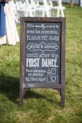 The couple wanted an unplugged ceremony. Chalkboard by SKO Designs. Photography by Organic Photography.