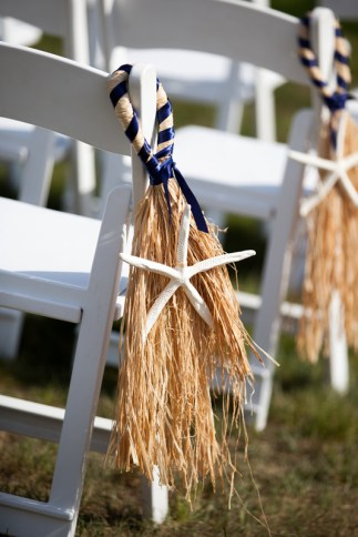Finger Starfish & Raffia Aisle Decor at Pelham House Resort in Dennisport, Mass. Aisle decor by SKO Designs. Photography by Organic Photography.