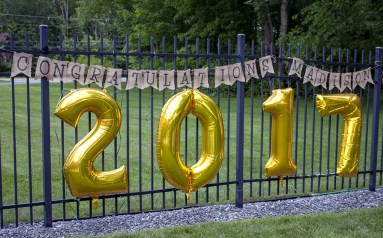 Burlap Banner and Large Year Balloons