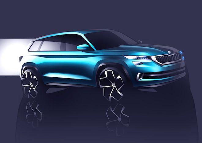 SUV-Designstudie ŠKODA VisionS feiert Premiere in Genf: Das Außendesign des ŠKODA VisionS spiegelt die neue gestalterische Identität der Marke wider – überführt ins SUV-Segment. Alle Kanten und Schnitte sind klar, präzise und scharf gestaltet.