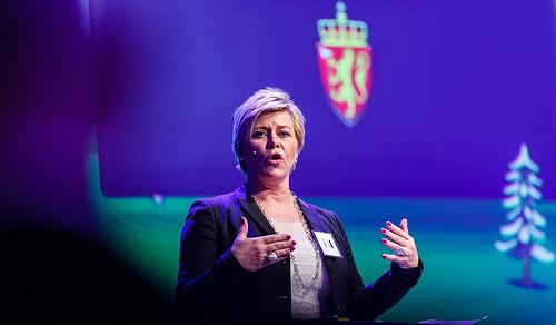 Finansminister Siv Jensen har lagt fram eit budsjett som er negativt for Nord-Noreg. Foto: Norsk olje og gass