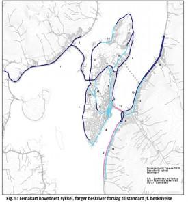 Forslaget til hovudsykkelnett i framlegget til kommuneplan