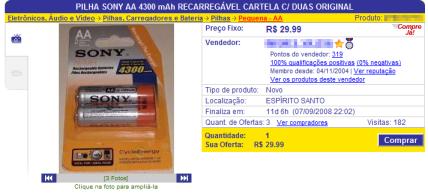 Anúncio de pilhas falsificadas no Mercado Livre