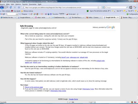 Diagnóstico dos softwares maliciosos no site da Universal Pictures