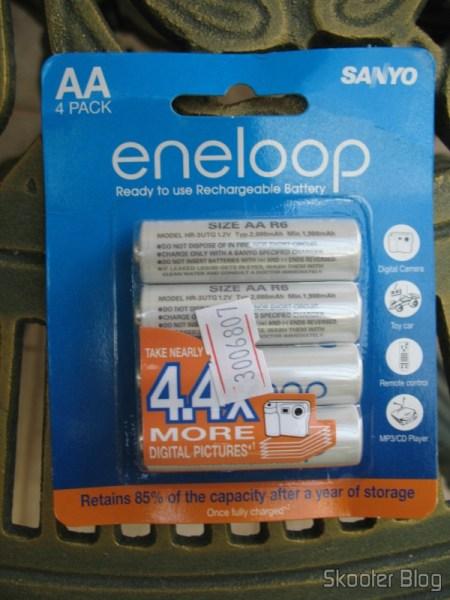 Embalagem das Pilhas AA Recarregáveis Ni-MH 2000 mAh Sanyo Eneloop (pacote com 4)