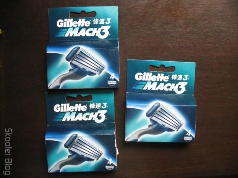 Embalagens de cartuchos Mach 3 da Gillette vindos da China