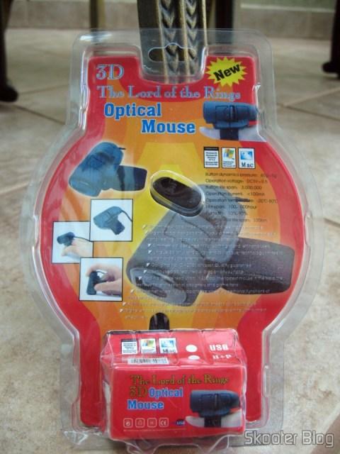 Parte traseira da embalagem do Mouse Óptico USB de dedo