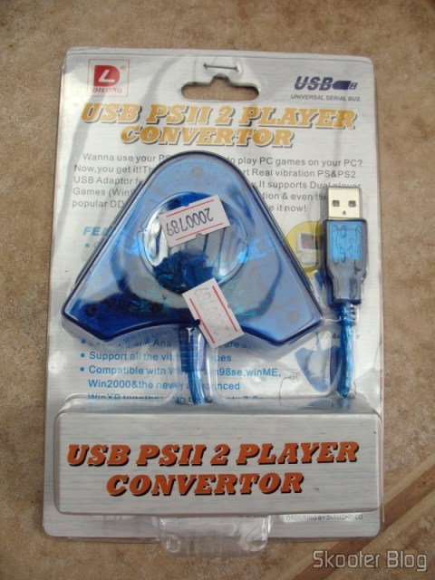 Embalagem do conversor USB de controles de Playstation para PC da Dilong