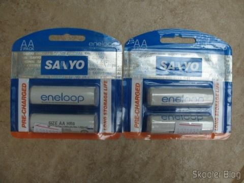 Embalagem das Sanyo Eneloop falsificadas