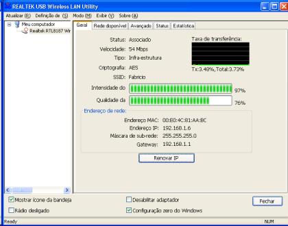 Screenshot do software da Realtek: informações sobre a rede, incluindo intensidade e qualidade do sinal