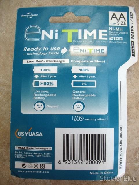 Parte traseira da embalagem das pilhas GS Yuasa AA NiMH 2000mAh