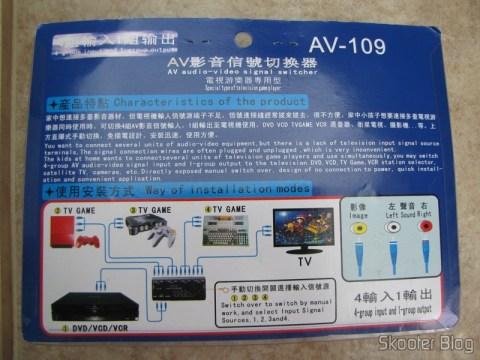 Parte traseira da embalagem do chaveador de áudio e vídeo com S-Video