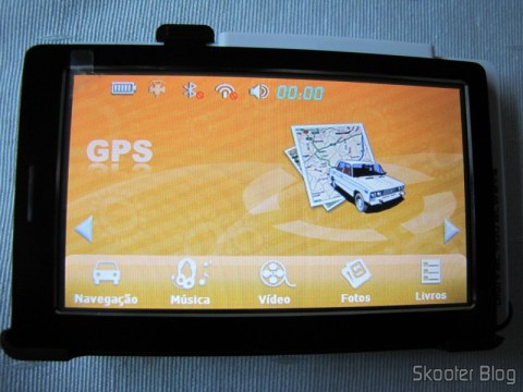 Interface dos menus do Navegador GPS