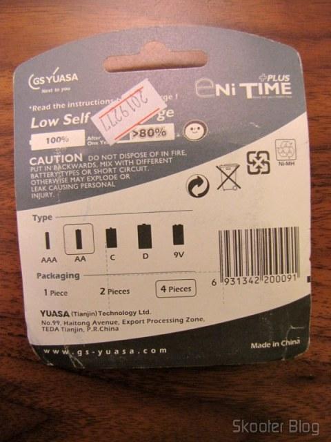 Parte traseira da embalagem das pilhas GS Yuasa Enitime
