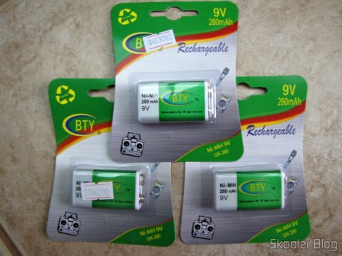 Baterias recarregáveis NiMH de 9V da BTY