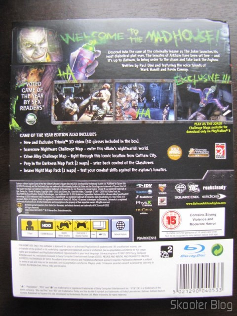 Batman: Arkham Asylum Game of The Year Edition - parte traseira da capa 3D