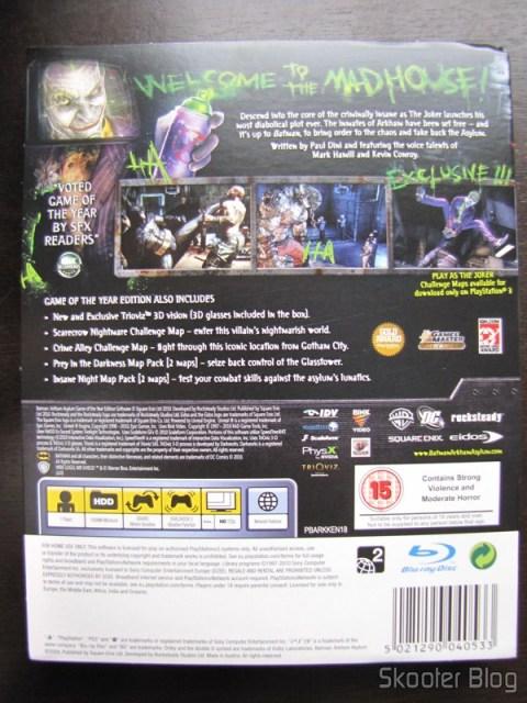 Batman: Arkham Asylum Game of The Year Edition - parte traseira da capa 3D