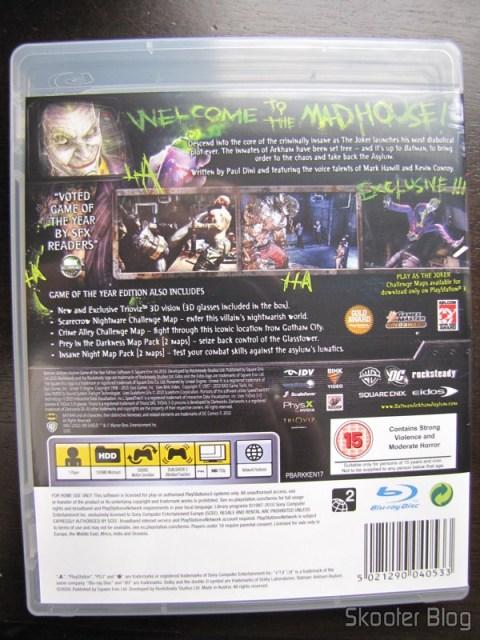 Batman: Arkham Asylum Game of The Year Edition - parte traseira da caixinha tradicional
