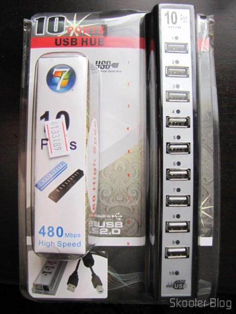 Embalagem do Hub USB 2.0 com 10 portas