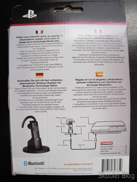 Parte traseira da caixa do Headset Bluetooth Wireless Oficial do Playstation 3