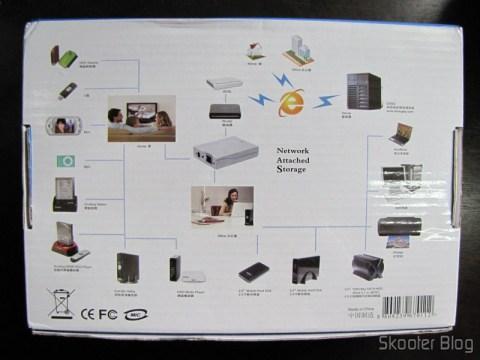 Parte traseira da caixa do NS-K330, mostrando algumas de suas possibilidades