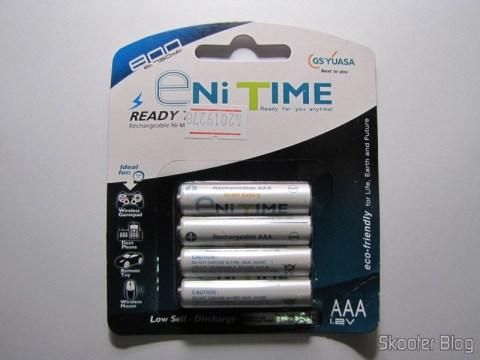 Pacote com 4 Pilhas AAA NiMH recarregáveis 1.2V 750mAh GS Yuasa Enitime