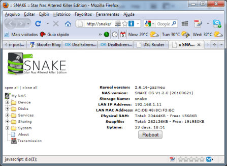 Tela inicial da interface web do SnakeOS