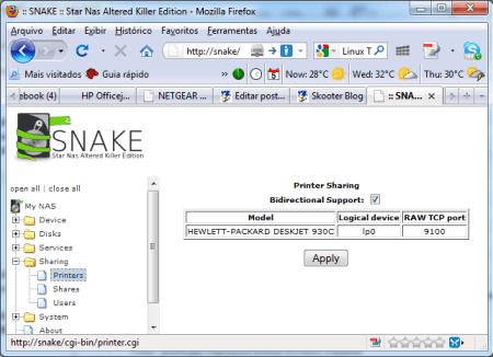 Compartilhamento de impressoras no NS-K330 com o SnakeOS